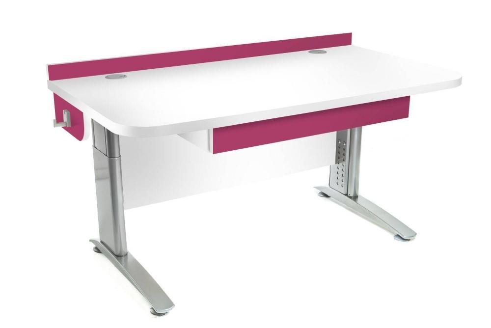 Stôl rastúci rovný │ biela štandard / ružová malina