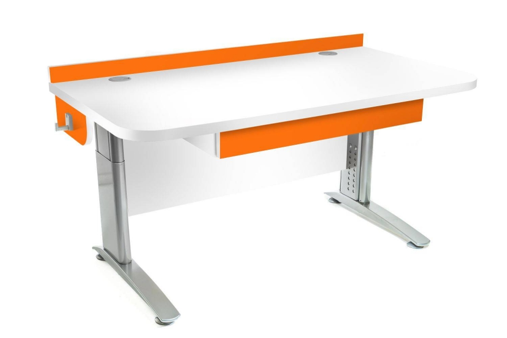 Stôl rastúci rovný │ biela štandard / oranžová