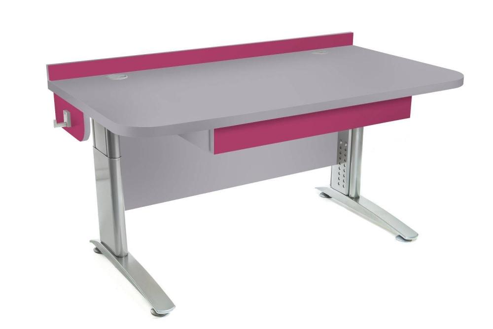 Stôl rastúci rovný │ šedá perlička / ružová malina
