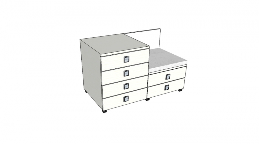 Kontajner IGIMAX DOUBLE │ biela štandard / biela štandard/látka