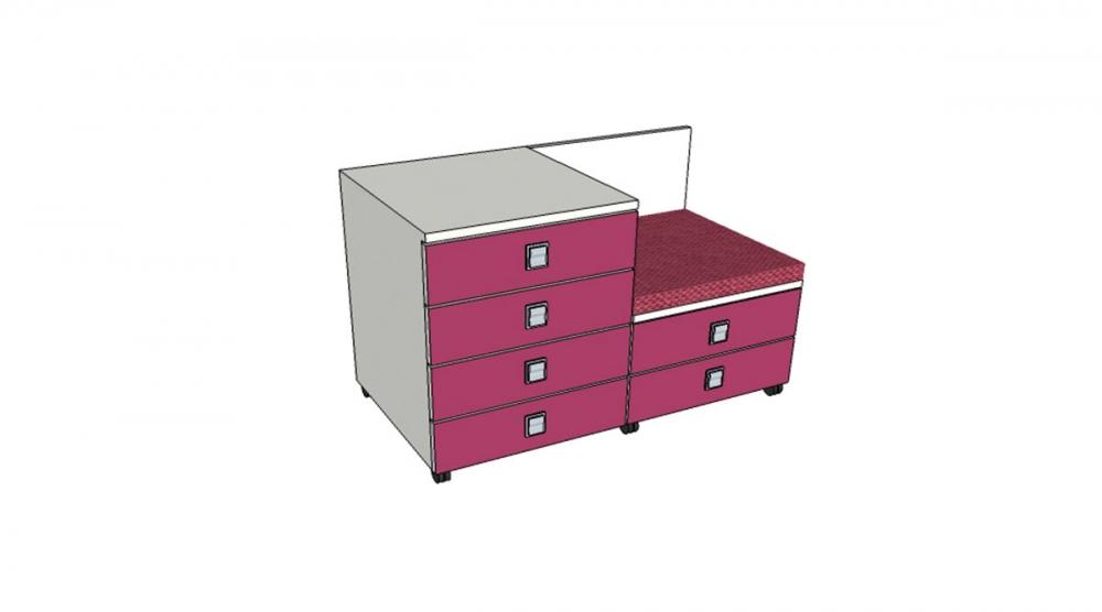 Kontajner IGIMAX DOUBLE │ biela štandard / ružová malina/látka