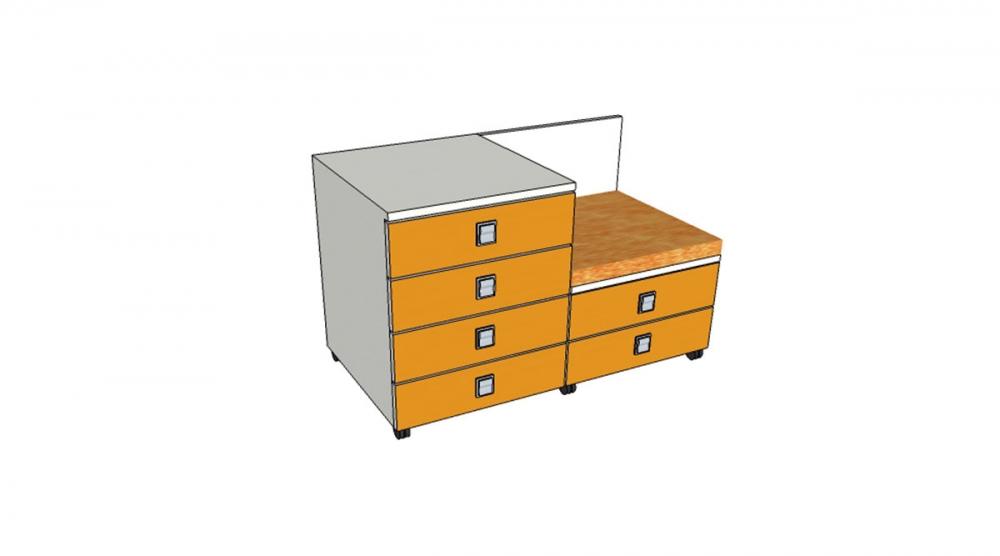 Kontajner IGIMAX DOUBLE │ biela štandard / oranžová/látka