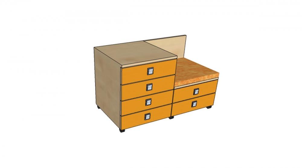Kontajner IGIMAX DOUBLE │ javor prírodný / oranžová/látka