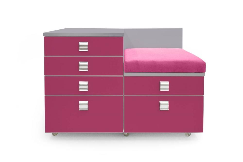 Kontajner IGIMAX DOUBLE │ šedá perlička / ružová malina/látka