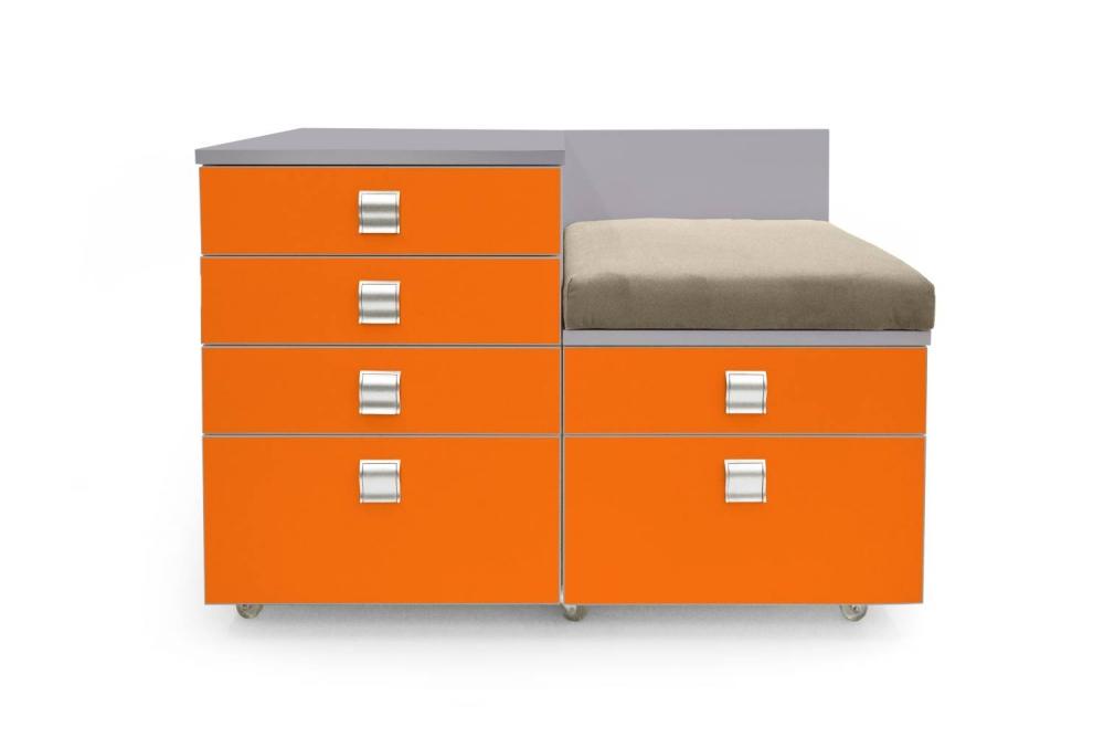 Kontajner IGIMAX DOUBLE │ šedá perlička / oranžová/látka