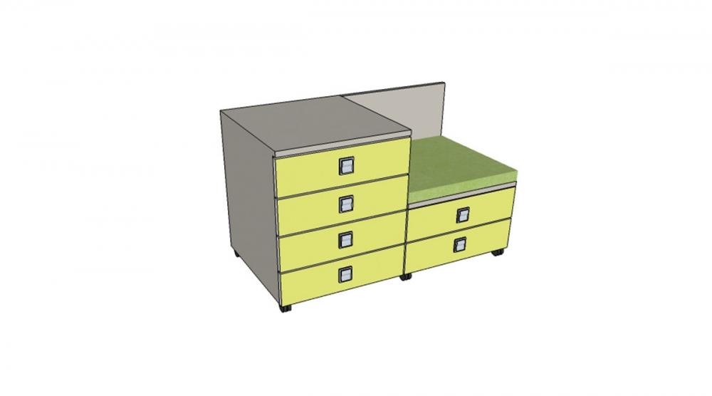 Kontajner IGIMAX DOUBLE │ šedá perlička / zelené jablko/látka