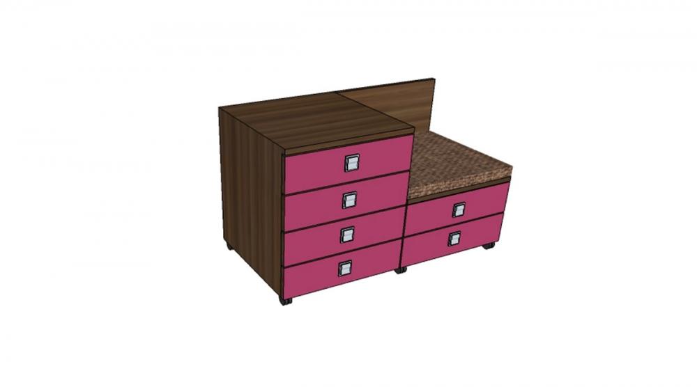 Kontajner IGIMAX DOUBLE │ orech Aida tabakový / ružová malina/látka