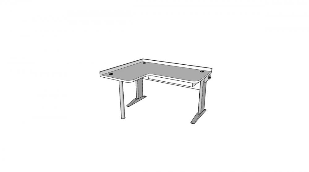 Stôl rastúci rohový ľavý │ biela štandard / biela štandard