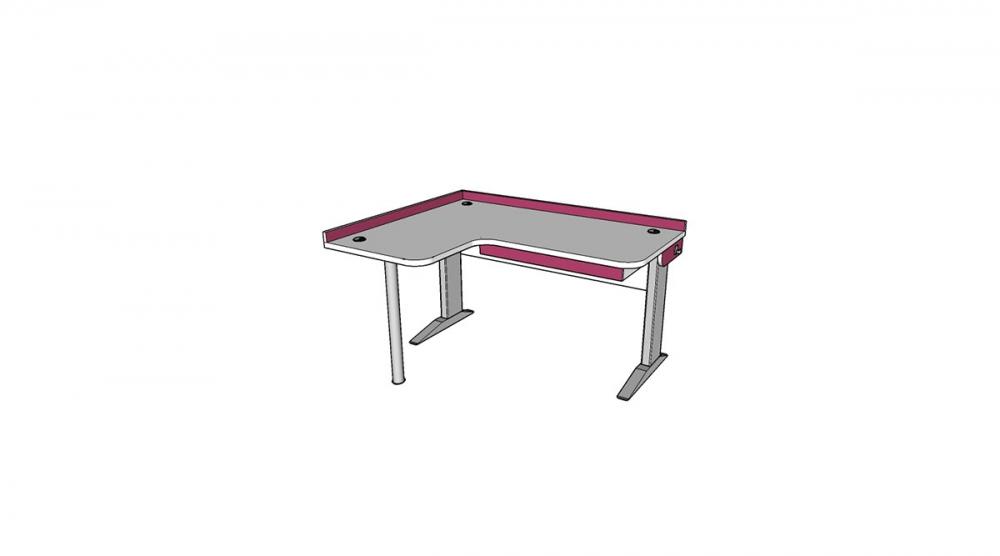 Stôl rastúci rohový ľavý │ biela štandard / ružová malina