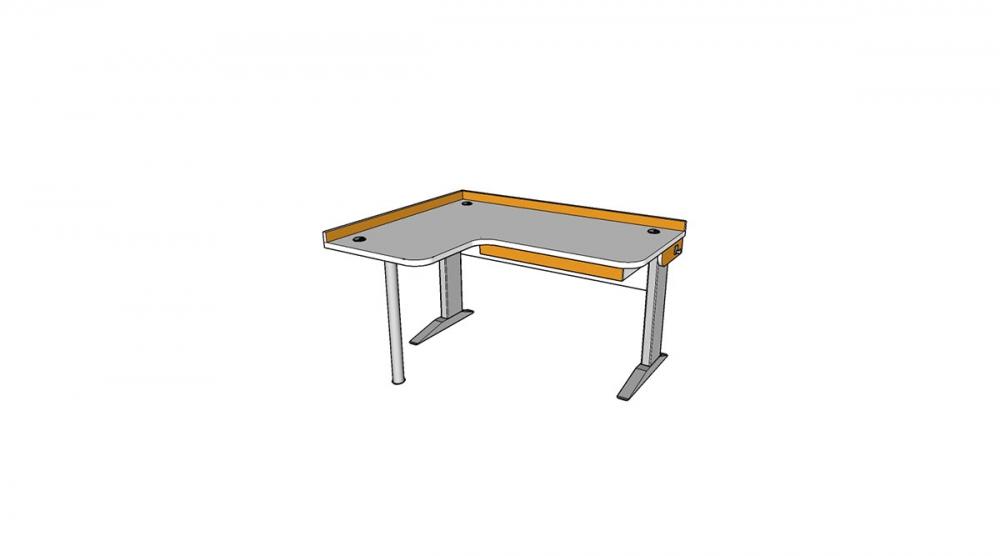 Stôl rastúci rohový ľavý │ biela štandard / oranžová