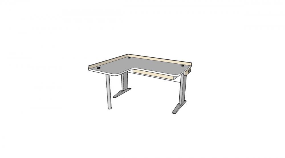Stôl rastúci rohový ľavý │ biela štandard / béžová (crema)