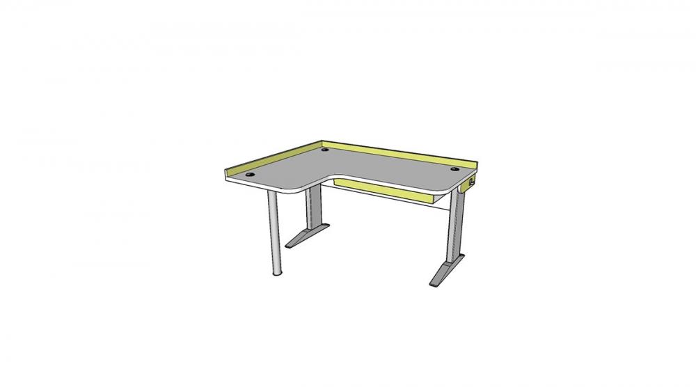 Stôl rastúci rohový ľavý │ biela štandard / zelené jablko