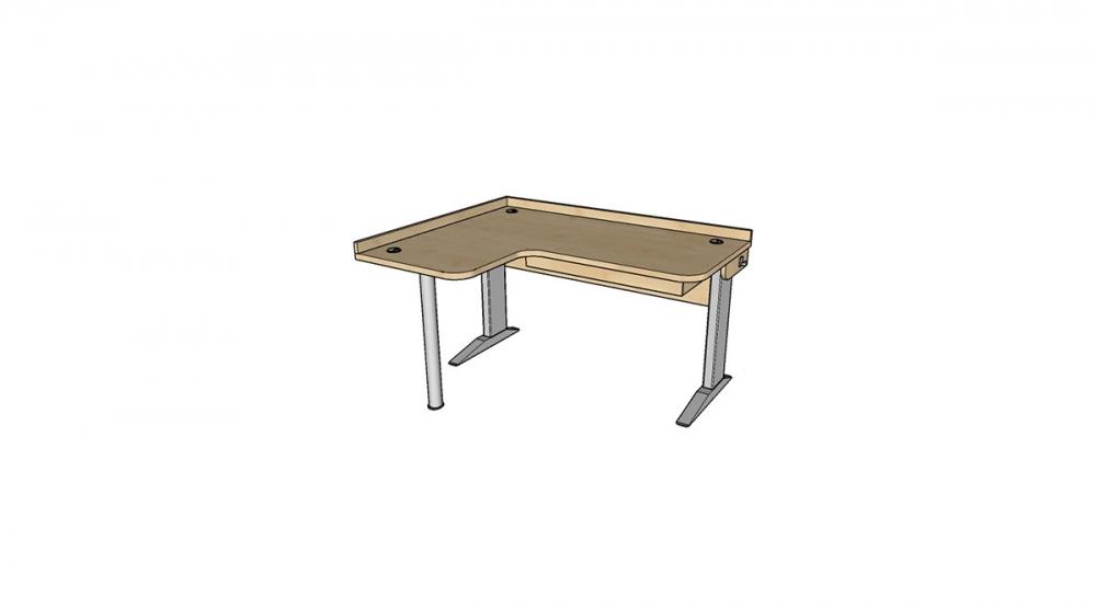 Stôl rastúci rohový ľavý │ javor prírodný / javor prírodný