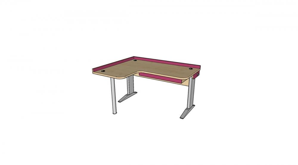Stôl rastúci rohový ľavý │ javor prírodný / ružová malina