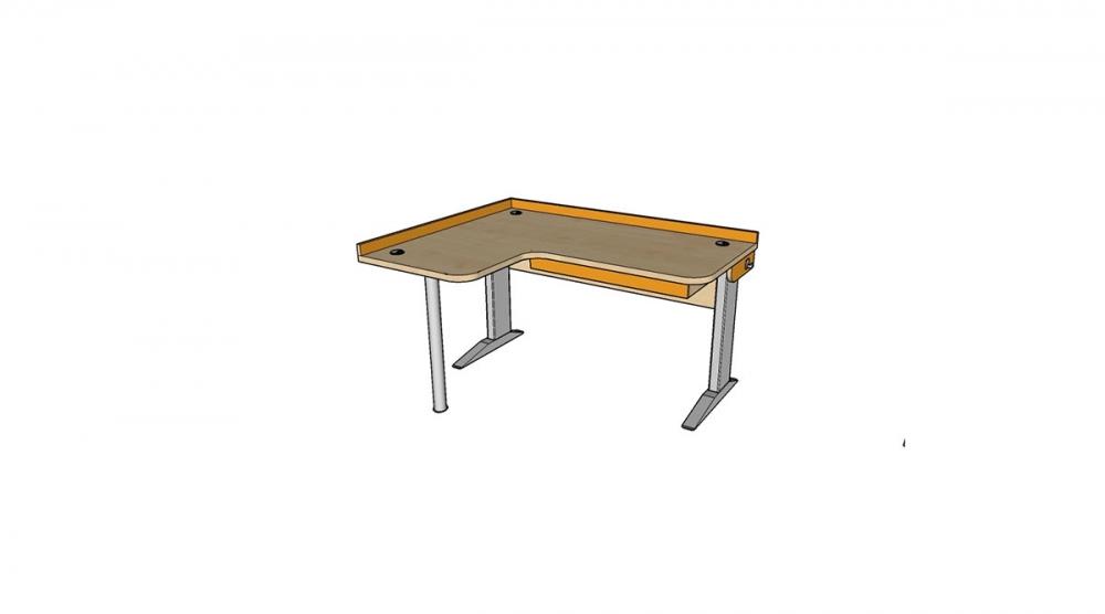 Stôl rastúci rohový ľavý │ javor prírodný / oranžová