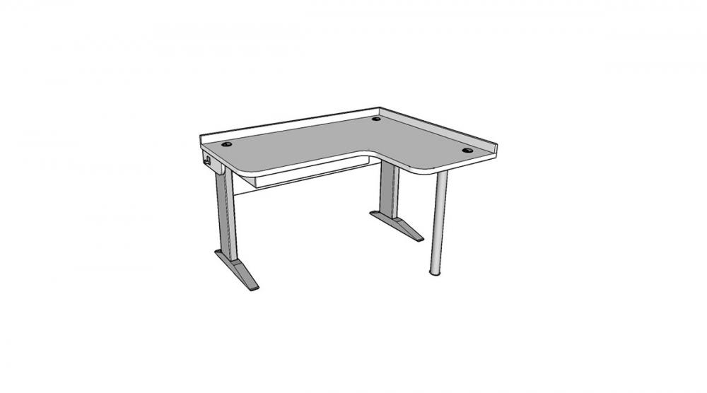 Stôl rastúci rohový pravý │ biela štandard / biela štandard