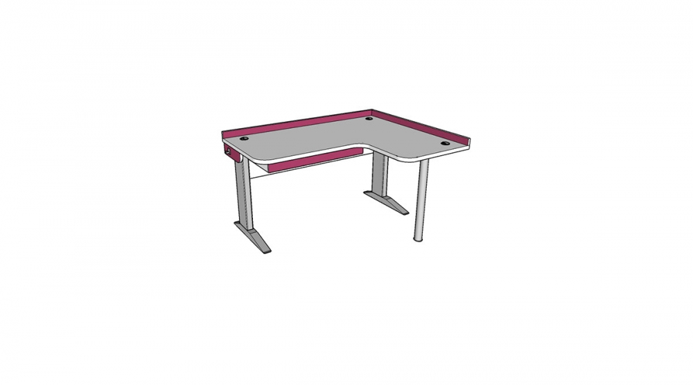 Stôl rastúci rohový pravý │ biela štandard / ružová malina