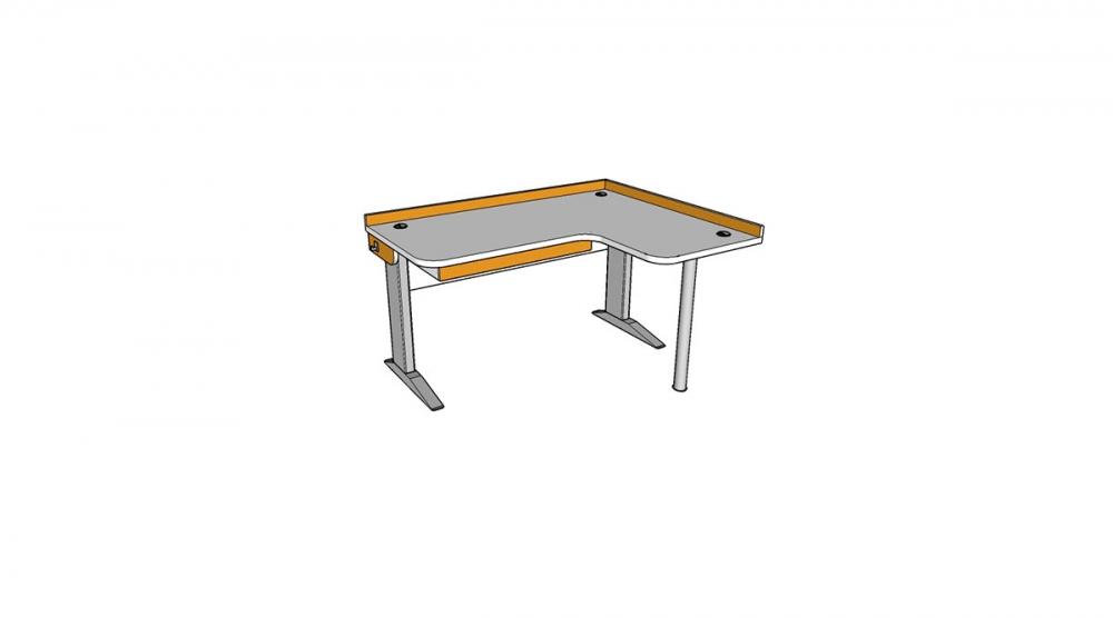 Stôl rastúci rohový pravý │ biela štandard / oranžová