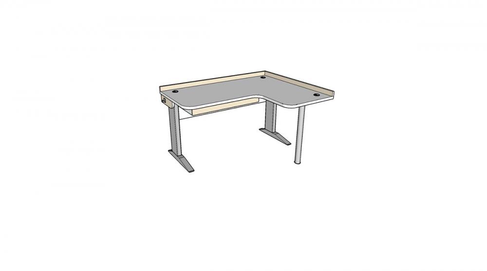 Stôl rastúci rohový pravý │ biela štandard / béžová (crema)