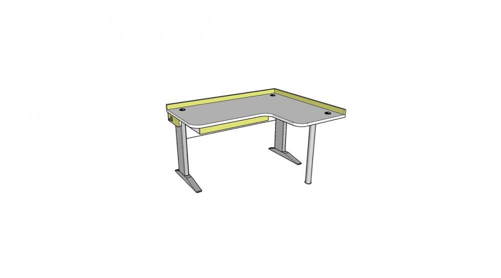 Stôl rastúci rohový pravý │ biela štandard / zelené jablko