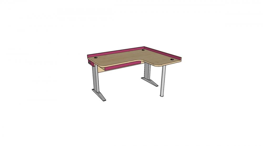 Stôl rastúci rohový pravý │javor prírodný / ružová malina