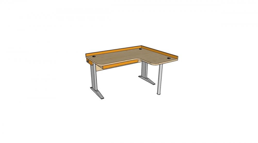 Stôl rastúci rohový pravý │javor prírodný / oranžová